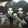 A Gary IN, murales dei Jackson 5 di Felix Maldonado al Miller Bakery Cafe in Lake Street
