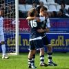 L'abbraccio con Marco Anelli dopo l'assist per il suo gol