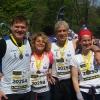 Milano Marathon 2015, 12.4.15. La staffetta World Friends 7: da sinistra: GLR, Raffaella Beneduce, Stefano Cairoli, Simona D'Angelosante