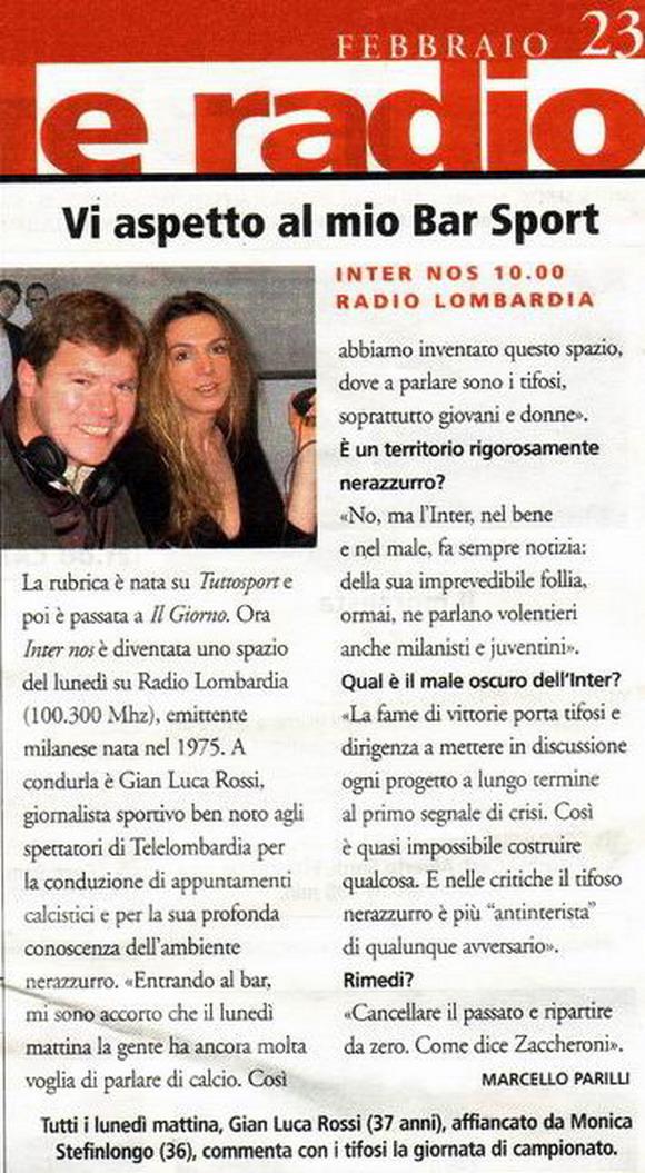 Intervista a Gian Luca Rossi pubblicata su TV Sette, magazine del Corriere della Sera, nel febbraio 2004