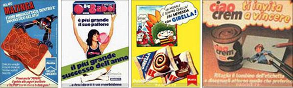 Da sinistra: i gelati 'Mazinga' della Motta. Ve la ricordate Daniela Goggi? La pubblicità 'Big-babol' era spesso nel settimanale Topolino. La 'Girella' resta la protagonista indiscussa della merenda nelle Scuole Medie. Indimenticabile il 'Ciao Crem' con il panino che parlava e diceva Ciao Crem nello spot Tv!