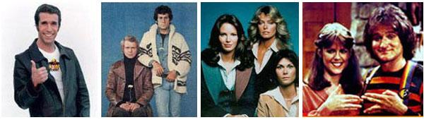 Da sinistra: Fonzie in 'Happy Days', il mito di ieri dei trentenni d'oggi.Starsky e Hutch', quelli veri, ben prima di Ben Stiller e Owen Wilson nel solito film-remake del 21° secolo. 'Le 'Charlie's Angels', con le prime polluzioni notturne e addirittura un doppio remake nel 21° secolo.'Mork e Mindy' (nano-nano).