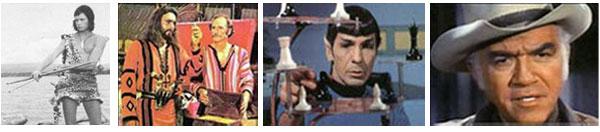 Da sinistra:l'indiano 'Orzowei'. 'Sandokan' con Yanez. Il Dottor Spock, impersonato da Leonard Nimoy, in 'Star Trek', una saga interminabile. 'Bonanza', il cow-boy di origine siciliana. Che tristezza!